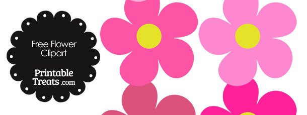 Cute Flower Clipart in Shades of Pink