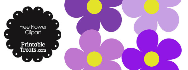 Cute Flower Clipart in Shades of Purple