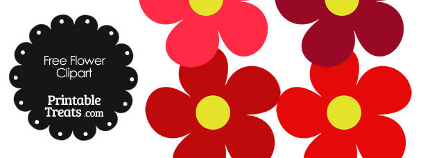 Cute Flower Clipart in Shades of Red