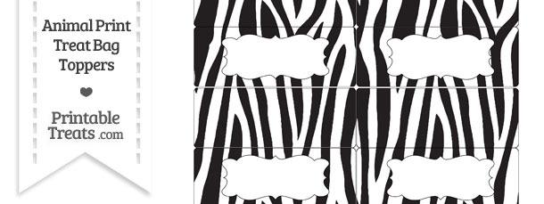 Free Zebra Print Treat Bag Toppers