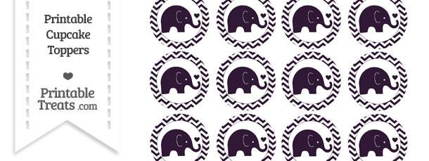 Dark Purple Baby Elephant Chevron Cupcake Toppers
