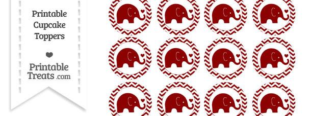 Dark Red Baby Elephant Chevron Cupcake Toppers