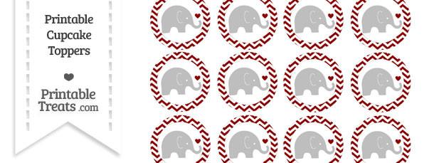 Dark Red Chevron Baby Elephant Cupcake Toppers
