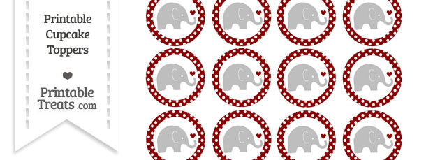 Dark Red Polka Dot Baby Elephant Cupcake Toppers