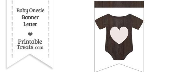 Dark Wood Baby Onesie Bunting Banner Heart End Flag