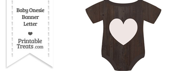 Dark Wood Baby Onesie Shaped Banner Heart End Flag