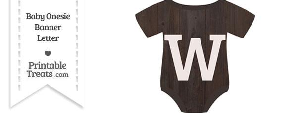Dark Wood Baby Onesie Shaped Banner Letter W