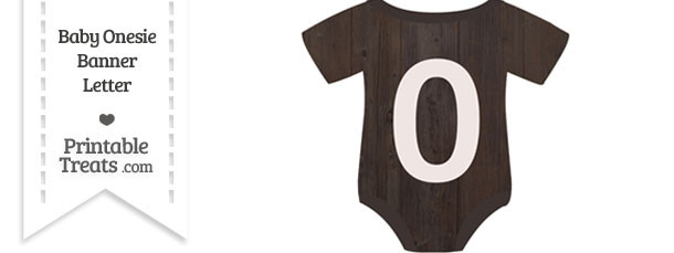 Dark Wood Baby Onesie Shaped Banner Number 0