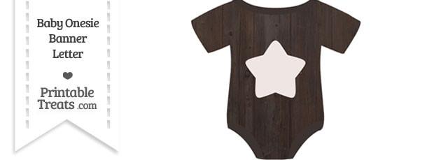 Dark Wood Baby Onesie Shaped Banner Star End Flag