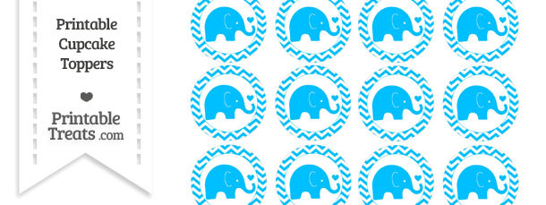 Deep Sky Blue Baby Elephant Chevron Cupcake Toppers