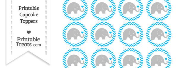 Deep Sky Blue Chevron Baby Elephant Cupcake Toppers