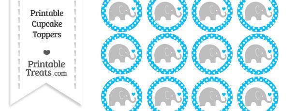Deep Sky Blue Polka Dot Baby Elephant Cupcake Toppers