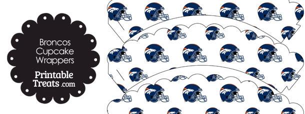 Denver Broncos Football Helmet Scalloped Cupcake Wrappers
