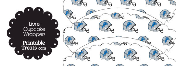 Detroit Lions Football Helmet Scalloped Cupcake Wrappers