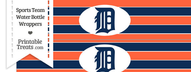 Detroit Tigers Water Bottle Wrappers