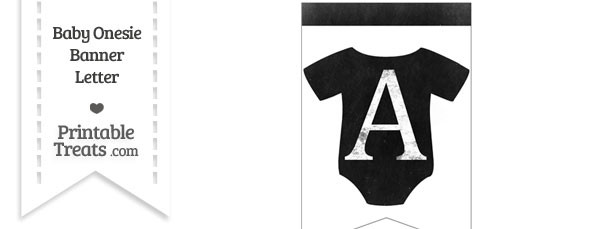 Dirty Chalkboard Baby Onesie Shaped Banner Letter A