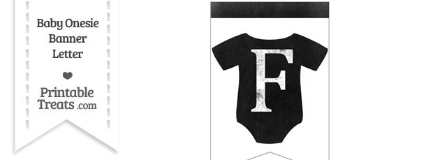 Dirty Chalkboard Baby Onesie Shaped Banner Letter F