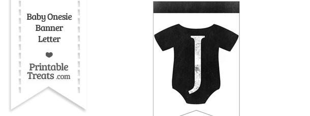 Dirty Chalkboard Baby Onesie Shaped Banner Letter J