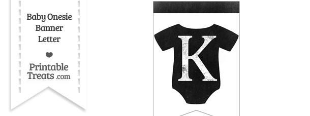 Dirty Chalkboard Baby Onesie Shaped Banner Letter K