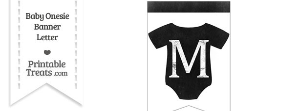 Dirty Chalkboard Baby Onesie Shaped Banner Letter M