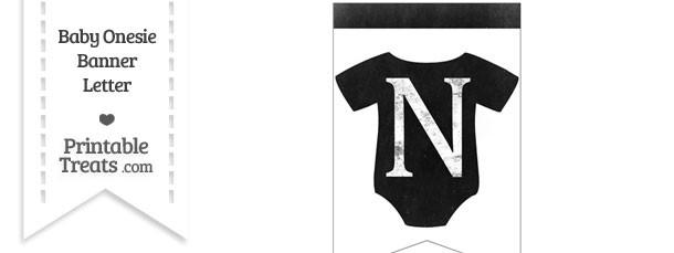 Dirty Chalkboard Baby Onesie Shaped Banner Letter N