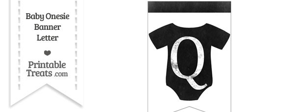 Dirty Chalkboard Baby Onesie Shaped Banner Letter Q