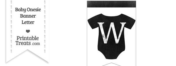 Dirty Chalkboard Baby Onesie Shaped Banner Letter W