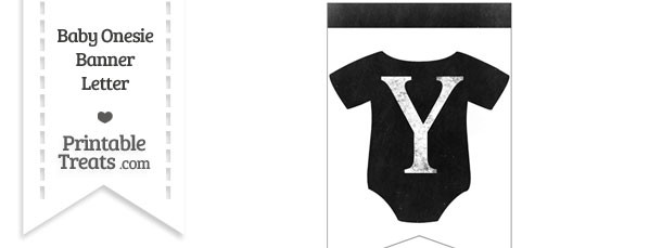 Dirty Chalkboard Baby Onesie Shaped Banner Letter Y