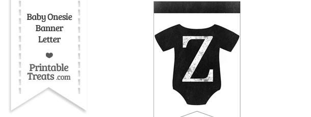 Dirty Chalkboard Baby Onesie Shaped Banner Letter Z
