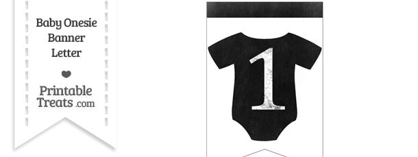 Dirty Chalkboard Baby Onesie Shaped Banner Number 1