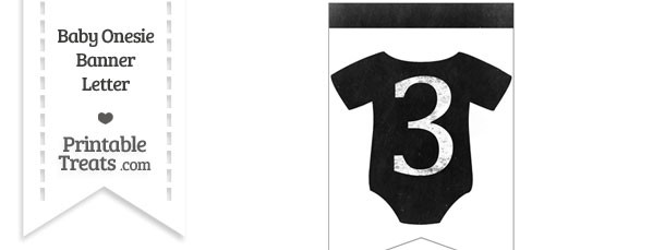 Dirty Chalkboard Baby Onesie Shaped Banner Number 3
