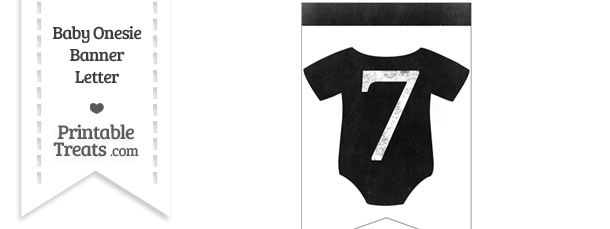Dirty Chalkboard Baby Onesie Shaped Banner Number 7