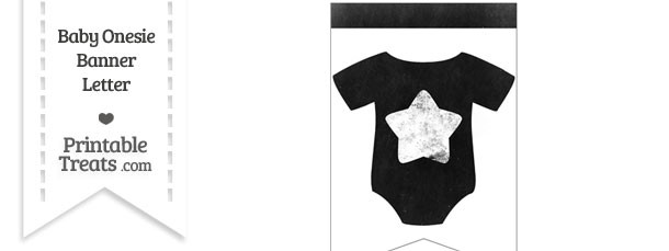 Dirty Chalkboard Baby Onesie Shaped Banner Star End Flag