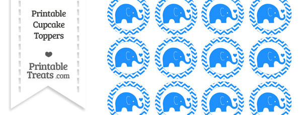 Dodger Blue Baby Elephant Chevron Cupcake Toppers