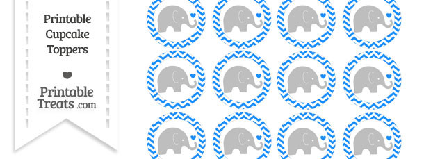 Dodger Blue Chevron Baby Elephant Cupcake Toppers