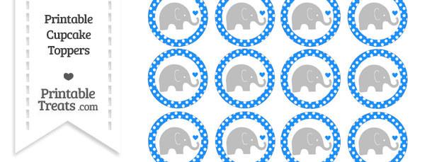 Dodger Blue Polka Dot Baby Elephant Cupcake Toppers