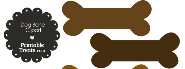 Dog Bone Clipart in Shades of Brown from PrintableTreats.com