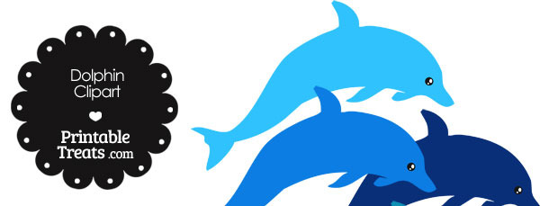 Dolphin Clipart in Shades of Blue