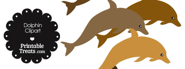 Dolphin Clipart in Shades of Brown