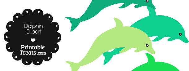 Dolphin Clipart in Shades of Green