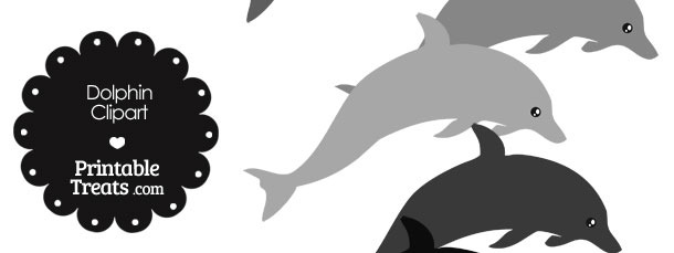 Dolphin Clipart in Shades of Grey