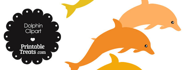 Dolphin Clipart in Shades of Orange