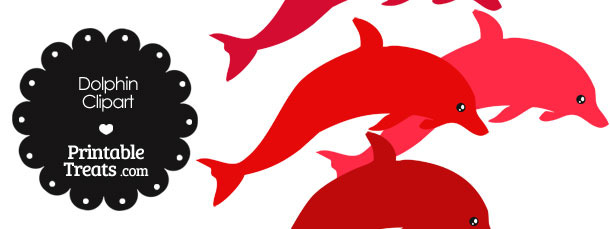 Dolphin Clipart in Shades of Red