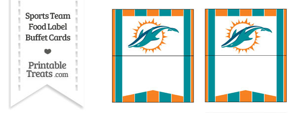 Dolphins Food Label Buffet Cards