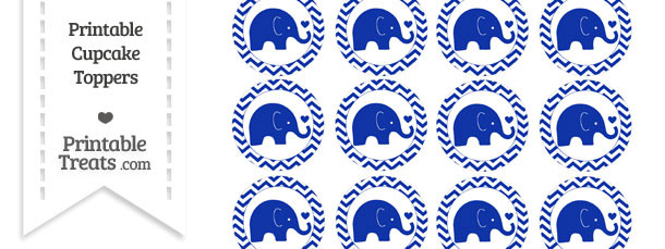 Egyptian Blue Baby Elephant Chevron Cupcake Toppers
