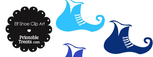 Elf Shoe Clipart in Shades of Blue