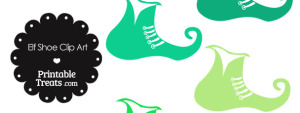 Elf Shoe Clipart in Shades of Green