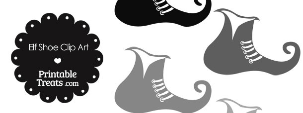 Elf Shoe Clipart in Shades of Grey