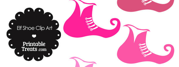 Elf Shoe Clipart in Shades of Pink