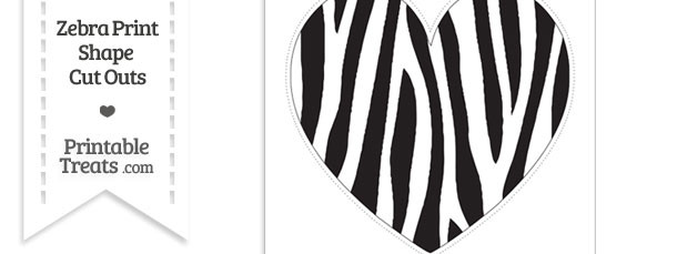 Extra Large Skinny Zebra Print Heart Cut Out